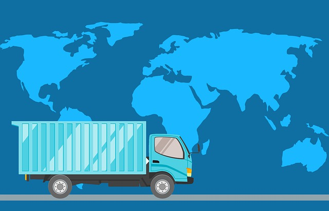 A truck and a world map behind it - Best Logistics Company